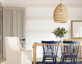 Modern, bright, dining area